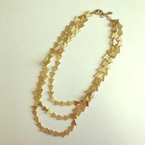 Amrita Singh Jewelry - Amrita Singh hammered gold triangle necklace.
