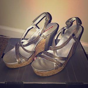 Silver Metallic Prada Wedge Sandal