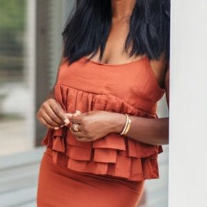 Who What Wear Tops - NWT- Who What Wear Ruffled Top in Orange