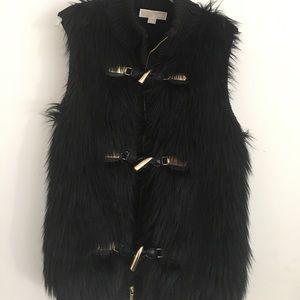 Black Michael Kors fur sweater vest, size M