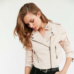 Pink Members Only High Low Moto Jacket