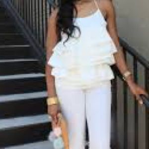 Who What Wear Tops - Who What Wear Ruffled Top in White