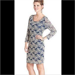 Blue and cream long sleeve dress never worn