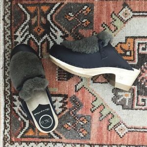 No. 6 Shearling and Navy Leather Clogs