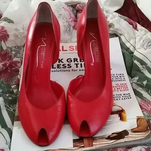 Newport news red leather  d'orsay heels size 8.5