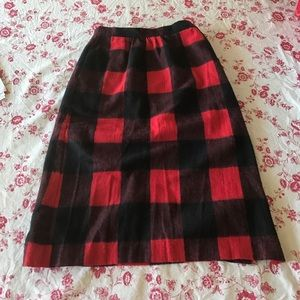Vintage Buffalo Plaid Pencil Skirt