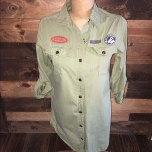 Tops - Military Patch Button Down Long Top/Tunic