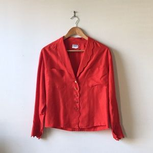 CHANEL Tops - Chanel vintage red button up scallop blouse