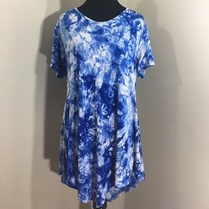 Doublju Tops - XL Blue TieDye Tunic