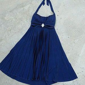Speechless Dresses & Skirts - Pleated halter cocktail dress Navy Blue