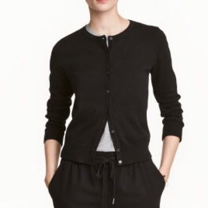 Sweaters - Black Cardigan Sweater with 3/4 Sleeves