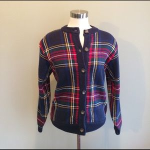 Vintage Sweaters - Vintage Plaid All Cotton Cardigan Sweater