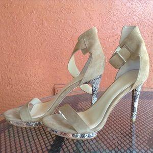 "Calvin Kline beige & snake skin 4""hill shoes."
