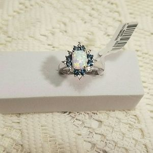 Sterling Silver Lab Created Opal Blue Topaz Ring