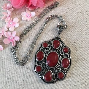 Red Howlite Necklace Stainless Steel