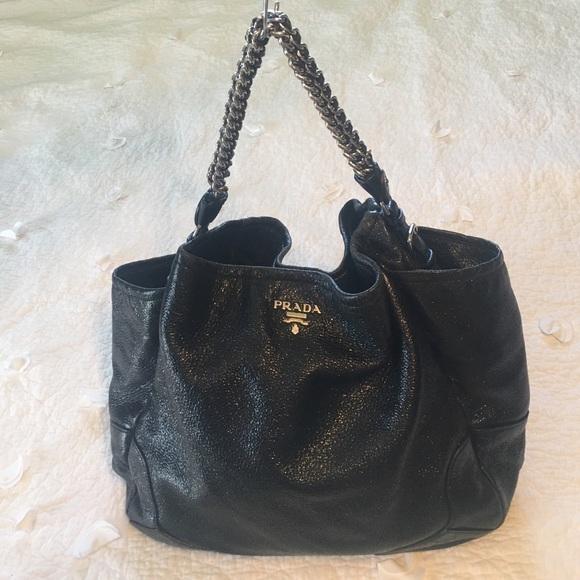 00012ae3f069 Prada Large Cervo Lux Hobo Leather Black Bag. M 58ab37d5f0137d502e011e8d