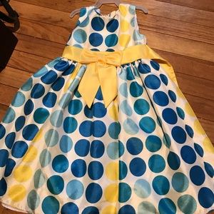 Other - Girls blue and yellow polka dotted dress