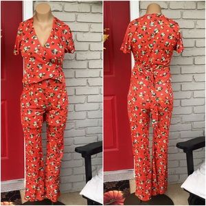 Vintage 2 piece 70's handmade orange floral set