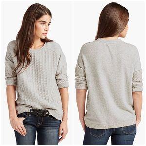 NWT Lucky Brand Grey Mixed Woven Pullover