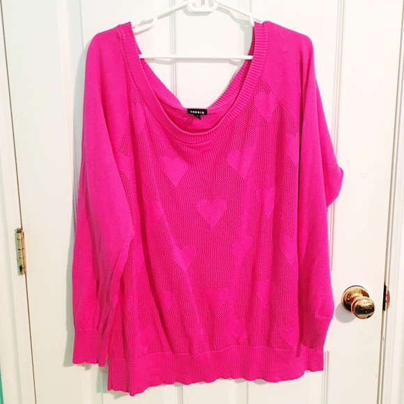 torrid Tops - EUC Hot Pink Heart Sweater