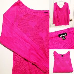 EUC Hot Pink Heart Sweater