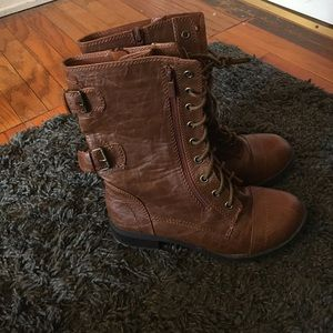 Journee Collection Shoes - Combat Boots Brown Moto Boots