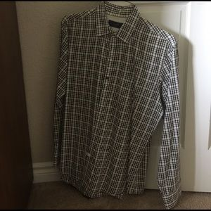 Tasso Elba Other - Brown and white checked shirt.