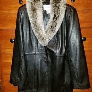 Chadwick's fur collar leather jacket