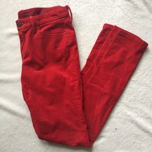 banana republic red skinny cords size 4/27