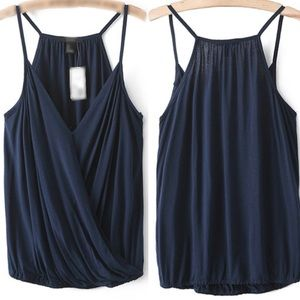 Free People Tops - Navy Spaghetti Strap V Neck Tank Top