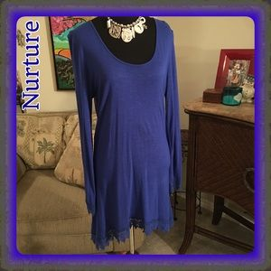 Nurture Dresses & Skirts - Nurture Blue Tunic/Dress w/ crochet hem & cuffs M