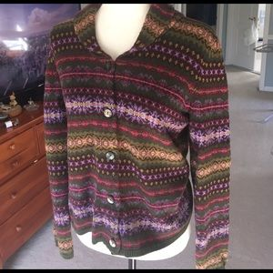 Talbots multi colored patterned cardigan