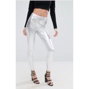 River Island Pants - NWT River Island metallic high waist skinny pants