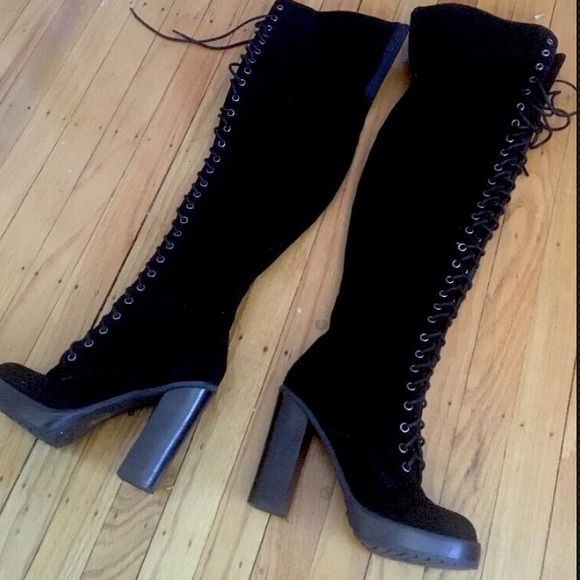 Aldo Shoes | Thigh High Lace Up Black