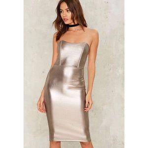 NWT nasty gal metallic strapless dress