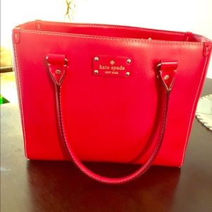 Red Leather Kate Spade Wellesley Quinn Tote