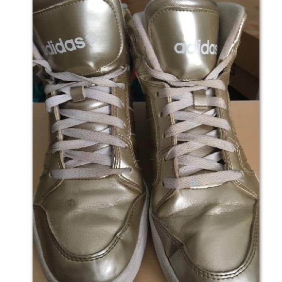 super popular 2ba90 785b6 Adidas Shoes - Adidas NEO Raleigh Gold Metallic High Top Sneakers