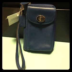 Coach Accessories - NWT Coach blue leather ID phone case