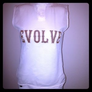 Tops - Evolve white  jersey style sleeve less top
