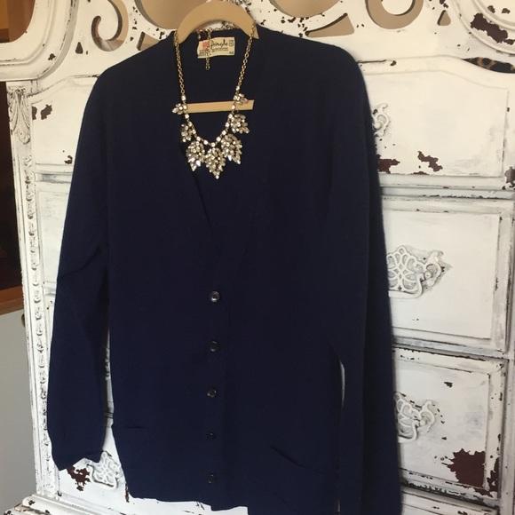 94c5541f4f Vintage dark blue big button cardigan sweater