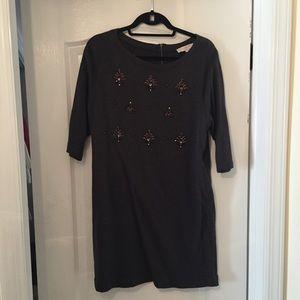 Loft Embellished Sweatshirt Dress