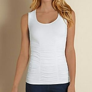 NWOT Soft Surroundings White Ruched Scoop Tank