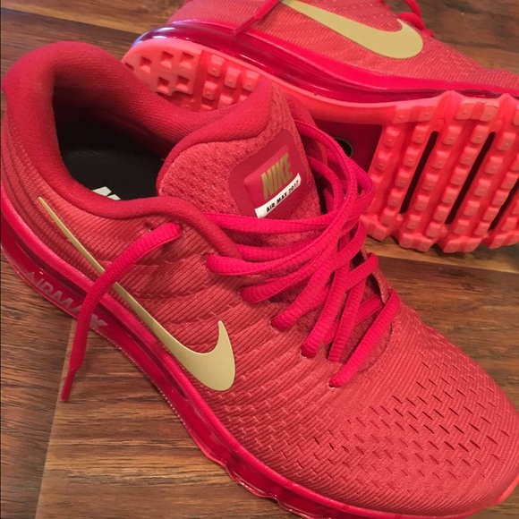 san francisco e39d3 8731f Nike iD Air Max 2017 Red and Gold Women's Size 8