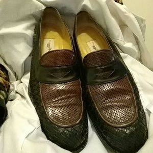 Mezlan Shoes - Mezlan weaved & embossed leather penny loafers