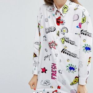 ASOS Tops - Oversized cotton shirt with prints !