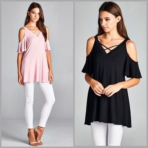 Threads & Trends Tops - Flutter Sleeves Tunic Top