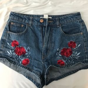 H&M Shorts - Coachella rose embroidered shorts from H&M