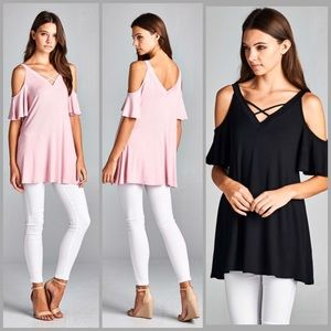 Threads & Trends Tops - Flutter Sleeve Tunic Top