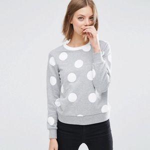 ASOS Tops - ASOS white polka dots on heather gray sweatshirt