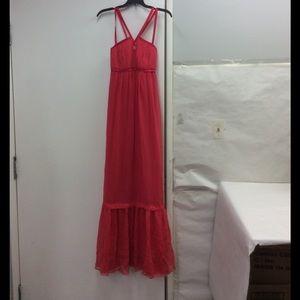 Philosophy di Alberta Ferretti Dresses & Skirts - Philosophy Pink Chiffon Maxi Cross Straps Dress